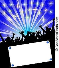 błękitny, partia, plakat, zaproszenie