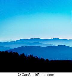 błękitny, perspektywa, grzbiet