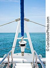 błękitny, piękny, łódka, morze, nawigacja