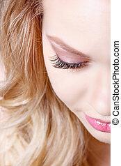 błękitny, piękny, piękno, rzęsy, ustalać, makijaż, do góry, długa twarz, skóra, część, doskonały, eyes., concept., closeup.