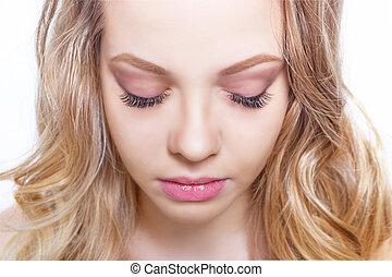 błękitny, piękny, piękno, rzęsy, ustalać, makijaż, do góry, długa twarz, skóra, doskonały, eyes., concept., closeup.