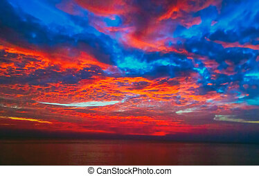 błękitny, piękny, słońce, niebo, morze, wschód słońca