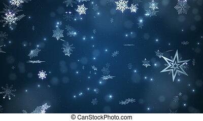błękitny, piękny, spadanie, płatki śniegu
