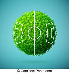 błękitny, piłka nożna, kula, jasny, pole, zielone tło, trawa