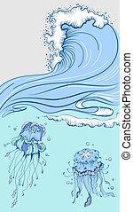 błękitny, piana, dwa, machać, wysoki, cap., morze, meduza