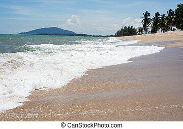 błękitny, piasek morze, machać