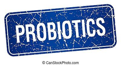 błękitny plac, grunge, tłoczyć, odizolowany, probiotics,...