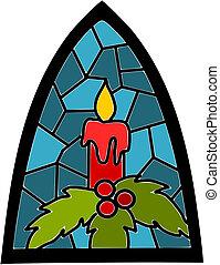 błękitny, plamione-szkło, okno, time., świeca, boże...