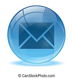 błękitny, poczta, abstrakcyjny, 3d, ikona