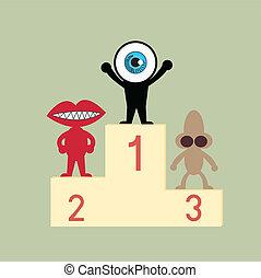 błękitny, podium, oko, lider, pierwszy