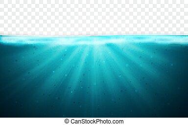 błękitny, podwodny, ilustracja, ocean polewają, tło., wektor, horyzont, surface., przeźroczysty