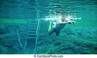 błękitny, podwodny, jasny, jezioro, muskularny, pływacki, człowiek