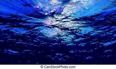 błękitny, podwodny, promienie