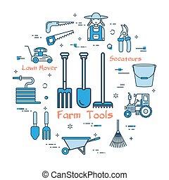 błękitny, pojęcie, narzędzia, okrągły, gospodarze