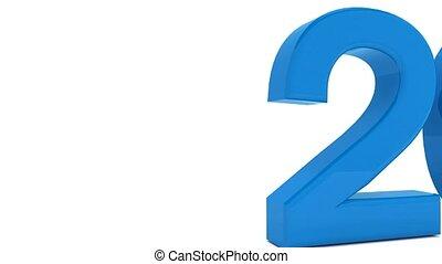 błękitny, pojęcie, -, ożywienie, rok, nowy, 2017, zmiana, 3d