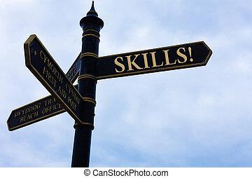 błękitny, pojęcie, zdolność, natura, bardzo, tekst, niebo, crossroads, pochmurny, znak, tło., treść, skills., coś, pismo, pisanie, dobrze, droga