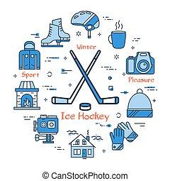 błękitny, pojęcie, zima lód, hokej