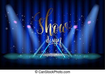 błękitny, pokaz, scena, projektować, oświetlenie, kurtyna