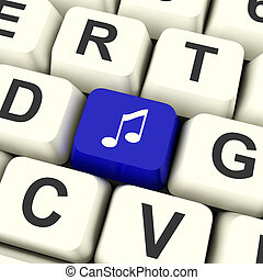 błękitny, pokaz, symbol, komputer, muzyka, klucz, online, radio, dźwiękowy, albo