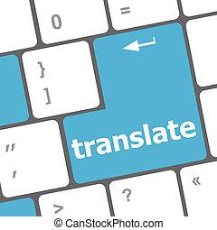 błękitny, pokaz, translator, komputerowy klucz, online, tłumaczyć