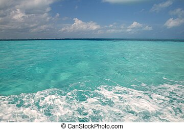 błękitny polewają, turkus, karaibskie morze