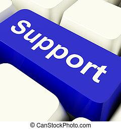 błękitny, pomoc, poparcie, komputerowy klucz, pomoc, pokaz