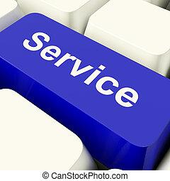błękitny, pomoc, służba, pokaz, komputerowy klucz, pomoc