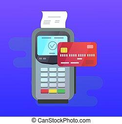 błękitny, pos, terminal, karta, kredyt