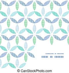 błękitny, próbka, abstrakcyjny, tekstylny, zielone tło, liście, róg, ułożyć