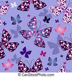 błękitny, próbka, motyle, seamless