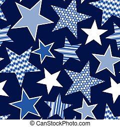błękitny, próbka, pasy, gwiazdy, seamless