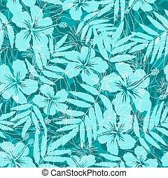 błękitny, próbka, seamless, tropikalny, sylwetka, kwiaty