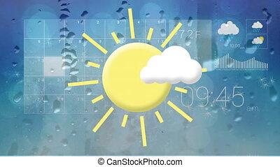 błękitny, prognoza, przeciw, interfejs, tło, pogoda