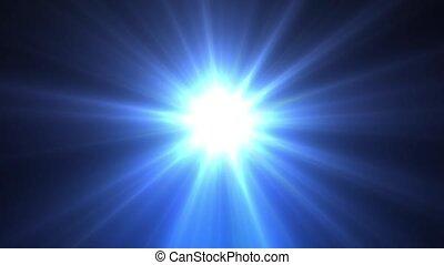 błękitny, promienie, gwiazda, lekki, długi, lustrzany