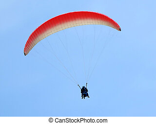 błękitny, przelotny, niebo, paraglider
