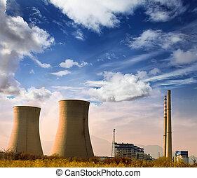 błękitny, przemysłowy, moc, powierzchnia, fotografia, niebo, fabryka, kominy, rurial, krajobraz