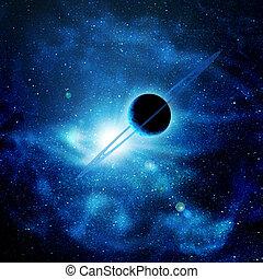 błękitny, przestrzeń, słońce, dzwoni, przeciw, planeta