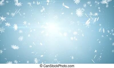 błękitny, przewiewny, seamless, opad śnieżny, pętla