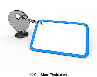 błękitny, przywiązany, klucz, 3d