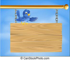 błękitny ptaszek, na, drewniany, znak