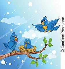 błękitny ptaszek, rodzina, z, śnieg