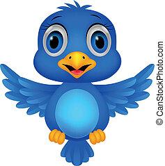 błękitny ptaszek, rysunek, sprytny