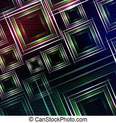 błękitny, purpurowy, abstrakcyjny, wielobarwny, światła, zielone tło, kwadraty, lustrzany