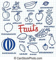 błękitny, różny, robiony, drawing., doodle, set., sheet., hand-drawn, owoc, pióro, notatnik, owoce, rysunek