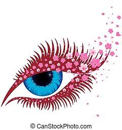 błękitny, różowy, oko, sakura, samica, mały, kwiaty