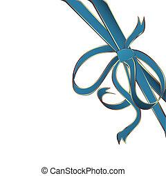 błękitny, róg, wstążka