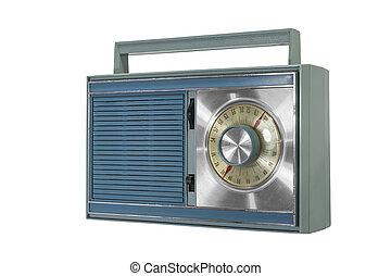 błękitny, radio, przenośny, retro