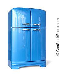błękitny, retro, chłodnia, lodówka