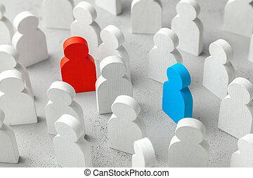 błękitny, rewizja, pojęcie, miłość, tłum, handlowy zaludniają, concept., dwa, kobieta, czerwony, odkrycie, biały, partner., man.
