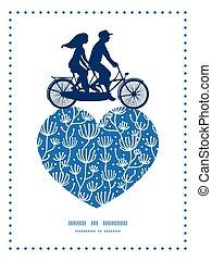 błękitny, rośliny, wektor, rower, serce modelują, para, ...